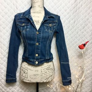 H&M Cropped Fitted Blue Denim Jean Jacket Size 2